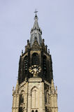 Delft church. Picture of the bell tower (Delft church in Holland royalty free stock photos