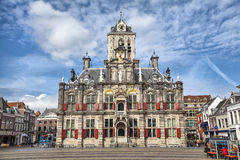 Delft city hall. The Renaissance style facade of the Delft city hall building, the Netherlands Royalty Free Stock Photography