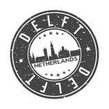 Delft Nederland Europa om van het de Horizonontwerp van de Knoopstad Toerisme van de de Zegel het Vectorreis vector illustratie