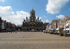Delft, Netherlands. The central square in Delft medieval city, Netherlands Stock Photography