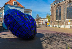 DELFT, NETHERLANDS - APRIL 4, 2008:  Blue glass heart near New c. Hurch, symbol of famous Delftware or Delft pottery, also known as Delft Blue Stock Images