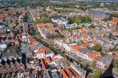 Delft, the Netherlands. The city of Delft in the Netherlands, seen from the tower of the New Church royalty free stock photography
