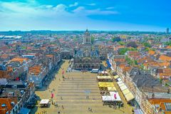 Delft, Netherlands. Panoramic aerial view of the city of Delft in the Netherlands from the New Church tower royalty free stock photography