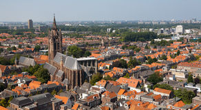 Delft Old Church from above Stock Photo