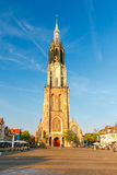 Delft. Old church with a bell tower. Royalty Free Stock Photo