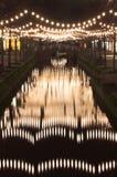 Delft-Stadtzentrum bis zum Nacht (Vhristmas Leuchten) Stockfotografie