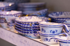 Delftware blue pottery ornaments on display Royalty Free Stock Photography