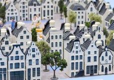 Delftware town. Miniature Dutch village made from Delftware Stock Photos