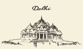 Delhi Akshardham Temple illustration drawn sketch Stock Photo