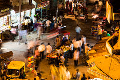 Delhi Bazaar at night Stock Photo