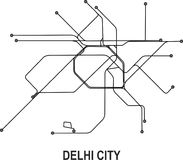Delhi City map. Delhi subway map available in vector file format Stock Photography