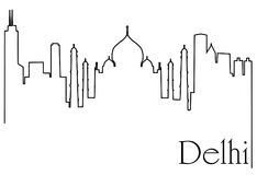 Delhi city one line drawing abstract background. Abstract background with  metropolis cityscape Stock Photography