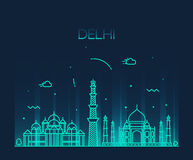 Delhi City skyline Trendy illustration line art Royalty Free Stock Photos