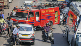 Delhi Fire Service vehicle, Delhi, India Royalty Free Stock Photo