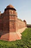 delhi fortindia massiva röda väggar Fotografering för Bildbyråer