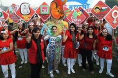 Delhi Half Marathon. Women of NGO sending a loud and a cler message at the delhi half Marathon Stock Photo