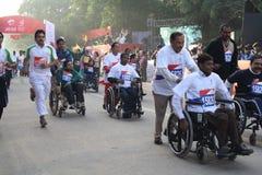 Delhi Half Marathon 2010. Physcially challenged people at the delhi half marathon Stock Photos