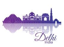 Delhi, Inde Horizon de ville illustration libre de droits