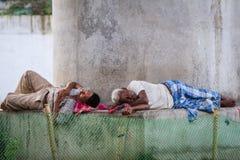 DELHI, INDIA-AUGUST 29: Hindu sleeping on the street on August 2 Royalty Free Stock Image
