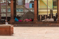 DELHI, INDIA-AUGUST 29: Hindu sleeping on the street on August 2 Royalty Free Stock Photography
