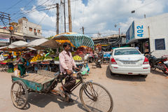 DELHI, INDIA-AUGUST 29: Indian trishaw 29, 2011 in Delhi, India. Royalty Free Stock Photo