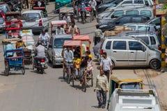 DELHI, 29 INDIA-AUGUSTUS: Indische trishaw 29, 2011 in Delhi, India Stock Afbeelding
