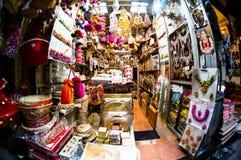 Small decoration and accessories shops in chandni chowk kinari bazar shot with fisheye stock photo
