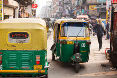 DELHI, INDIA - DEC 31: Tuk tuk on the streets in Delhi on Dec 31 Royalty Free Stock Photography