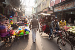 DELHI, INDIA - JAN 06: An unidentified rickshaw driver on the st Royalty Free Stock Photography