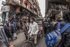 Delhi, India - January 27, 2017: ordinary crowdy city life at Chandni Chowk, Old Delhi, famous travel destination in India. Fishey Royalty Free Stock Photo