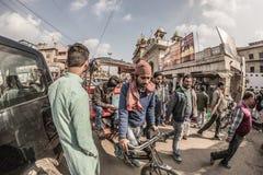 Delhi, India - January 27, 2017: ordinary crowdy city life at Chandni Chowk, Old Delhi, famous travel destination in India. Fishey Stock Photography