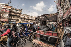 Delhi, India - January 27, 2017: ordinary crowdy city life at Chandni Chowk, Old Delhi, famous travel destination in India. Fishey Stock Photos