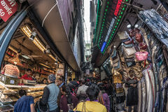Delhi, India - January 27, 2017: ordinary crowdy city life at Chandni Chowk, Old Delhi, famous travel destination in India. Fishey Royalty Free Stock Images