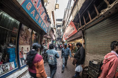 Delhi, India - January 27, 2017: ordinary crowdy city life at Chandni Chowk, Old Delhi, famous travel destination in India. Fishey Stock Images