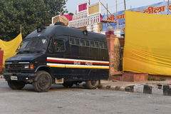 Delhi, India: October 18, 2015: Delhi Police support vehicles in the Red Fort Campus in New Delhi Stock Images