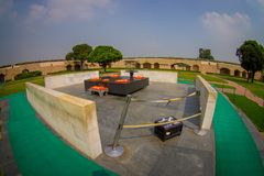DELHI, INDIA - SEPTEMBER 25 2017: Aerial view of beautiful grave in Rajghat, New Delhi as memorial at Mahatma Gandhis. Body cremation place, with some beautiful Stock Photos