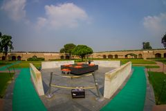 DELHI, INDIA - SEPTEMBER 25 2017: Aerial view of beautiful grave in Rajghat, New Delhi as memorial at Mahatma Gandhis. Body cremation place, with some beautiful Stock Photo