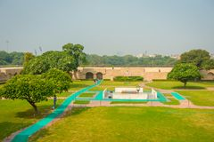 DELHI, INDIA - SEPTEMBER 25 2017: Aerial view of the park where is located the Rajghat, New Delhi as memorial at Mahatma Stock Photos