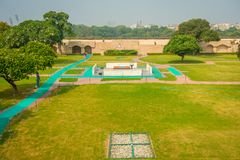 DELHI, INDIA - SEPTEMBER 25 2017: Aerial view of the park where is located the Rajghat, New Delhi as memorial at Mahatma Stock Image