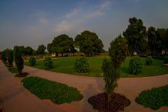 DELHI, INDIA - SEPTEMBER 25 2017: Bautiful outdoor view of the Sawan or Bhadon Pavilion in Hayat Baksh Bagh of Red Fort. At Delhi, fish eye effect Royalty Free Stock Image