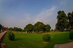 DELHI, INDIA - SEPTEMBER 25 2017: Bautiful outdoor view of the Sawan or Bhadon Pavilion in Hayat Baksh Bagh of Red Fort. At Delhi, fish eye effect Stock Image