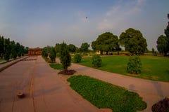 DELHI, INDIA - SEPTEMBER 25 2017: Bautiful outdoor view of the Sawan or Bhadon Pavilion in Hayat Baksh Bagh of Red Fort. At Delhi, fish eye effect Stock Images