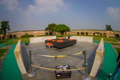 DELHI, INDIA - SEPTEMBER 25 2017: Beautiful grave in Rajghat, New Delhi as memorial at Mahatma Gandhis body cremation Royalty Free Stock Photo