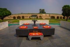 DELHI, INDIA - SEPTEMBER 25 2017: Beautiful grave in Rajghat, New Delhi as memorial at Mahatma Gandhis body cremation Stock Image