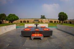 DELHI, INDIA - SEPTEMBER 25 2017: Beautiful grave in Rajghat, New Delhi as memorial at Mahatma Gandhis body cremation Stock Photography
