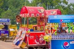 Delhi, India - September 16, 2017: De kleurrijke die karren verkopen dranken en roomijs in de straten in Delhi, India worden gegr Royalty-vrije Stock Fotografie