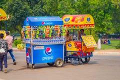 Delhi, India - September 16, 2017: De kleurrijke die karren verkopen dranken en roomijs in de straten in Delhi, India worden gegr Royalty-vrije Stock Foto's