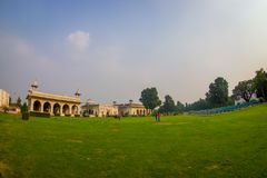 DELHI, INDIA - SEPTEMBER 25 2017: Gorgeous outdoor view of the Sawan or Bhadon Pavilion in Hayat Baksh Bagh of Red Fort. At Delhi. Decorated with white marble Royalty Free Stock Photos