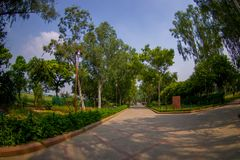 DELHI, INDIA - SEPTEMBER 25 2017: Gorgeous view of the park where is located the Rajghat, New Delhi as memorial at Stock Photos