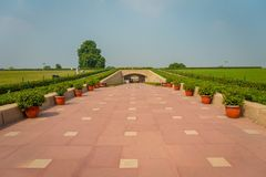 DELHI, INDIA - SEPTEMBER 25 2017: Gorgeous view of the park where is located the Rajghat, New Delhi as memorial at Stock Photography